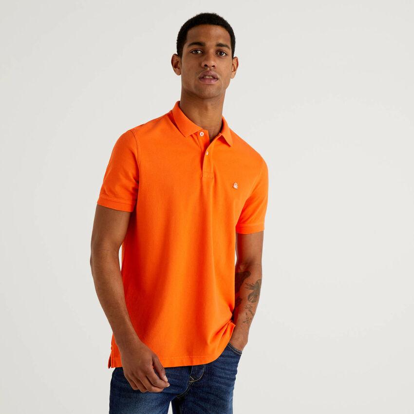 Regular fit customizable orange polo