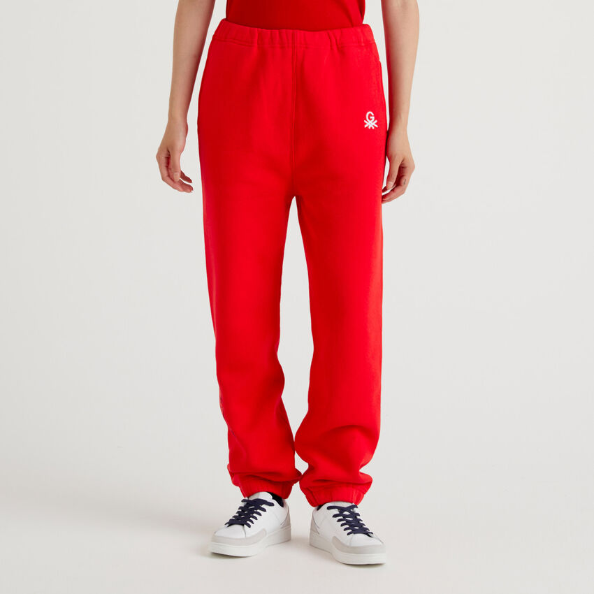 Red unisex joggers with embroidery by Ghali