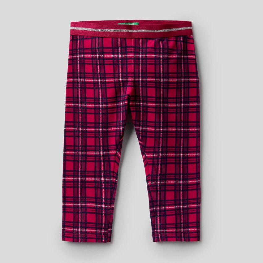 Check leggings in stretch cotton