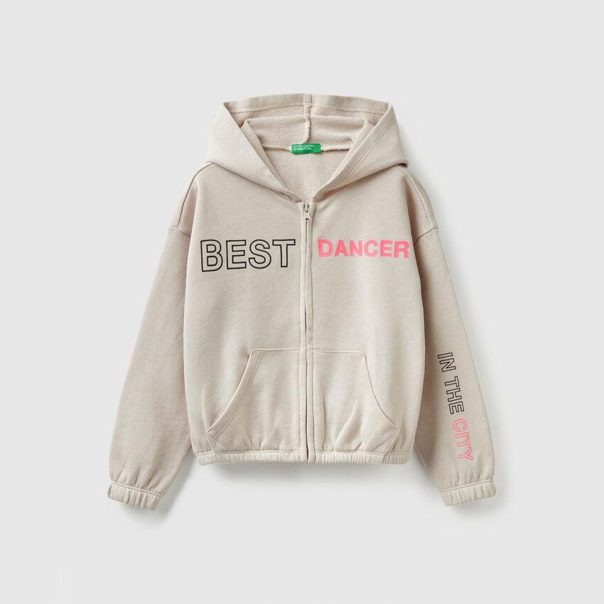 Cropped zip-up sweatshirt