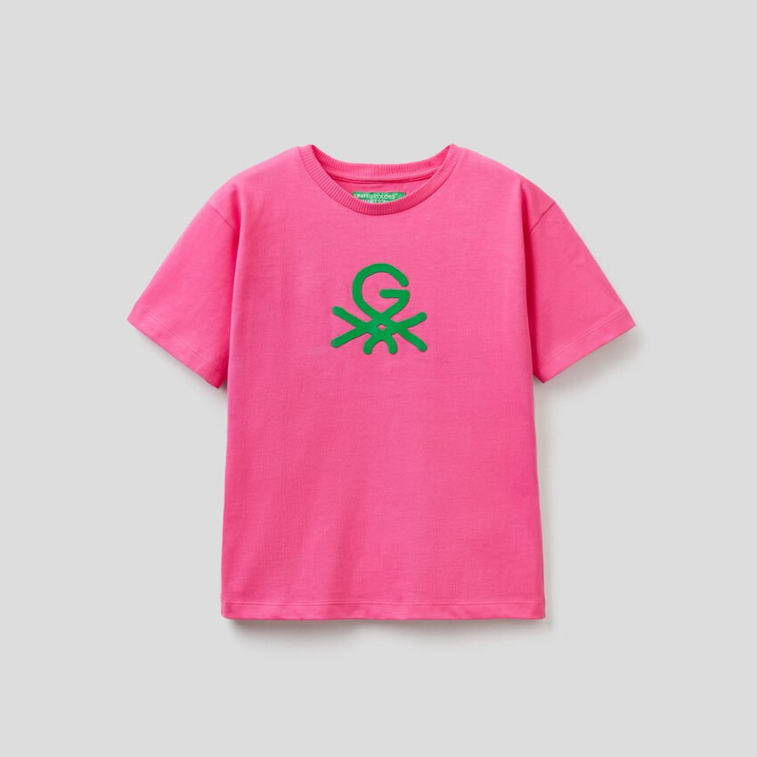 Fuchsia unisex t-shirt with print by Ghali