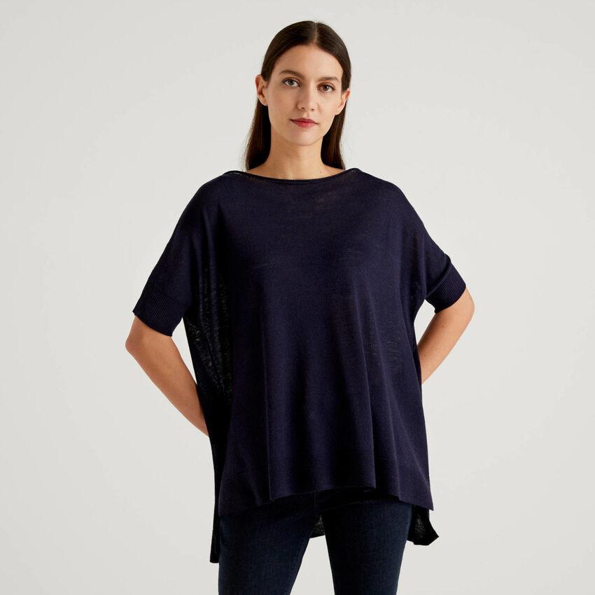 Oversized short sleeve sweater