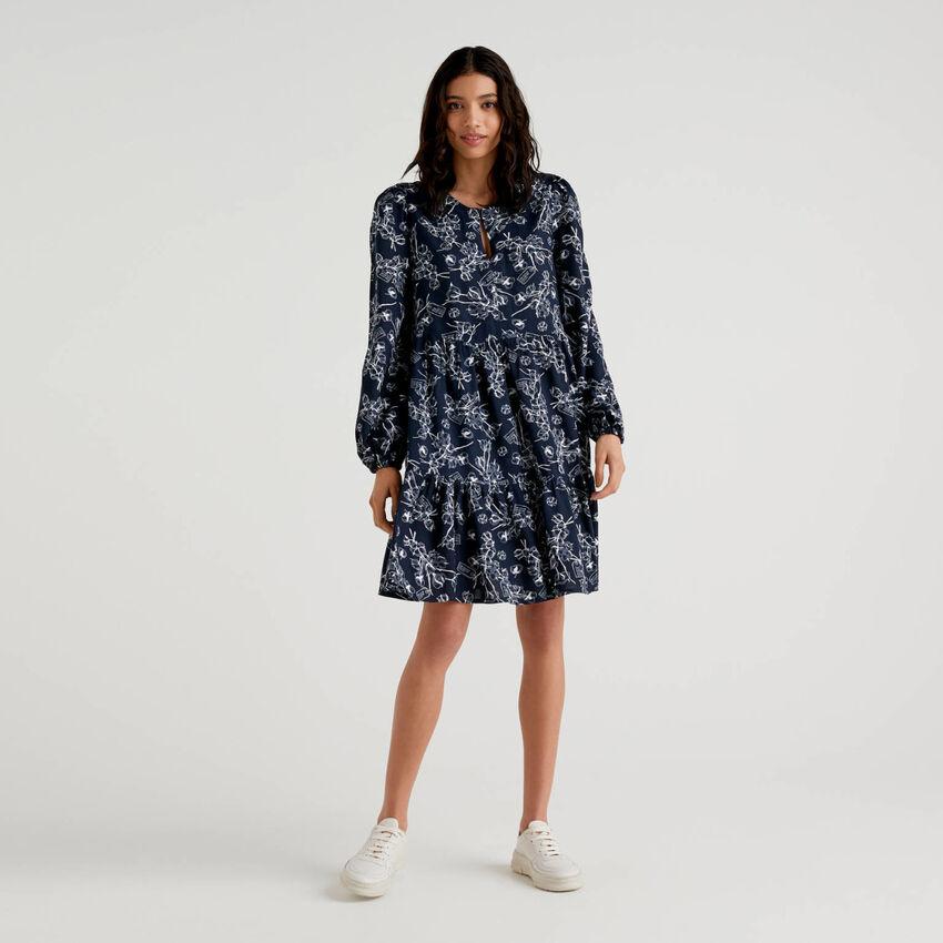 Pattern print frilly dress