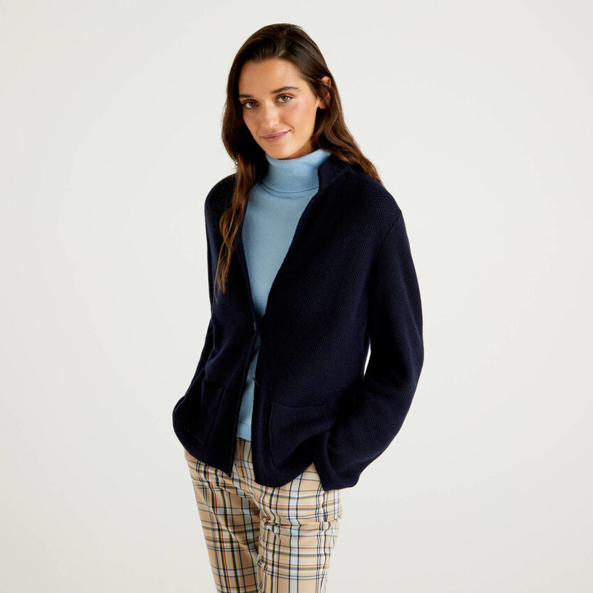 Knit jacket in wool and cashmere blend