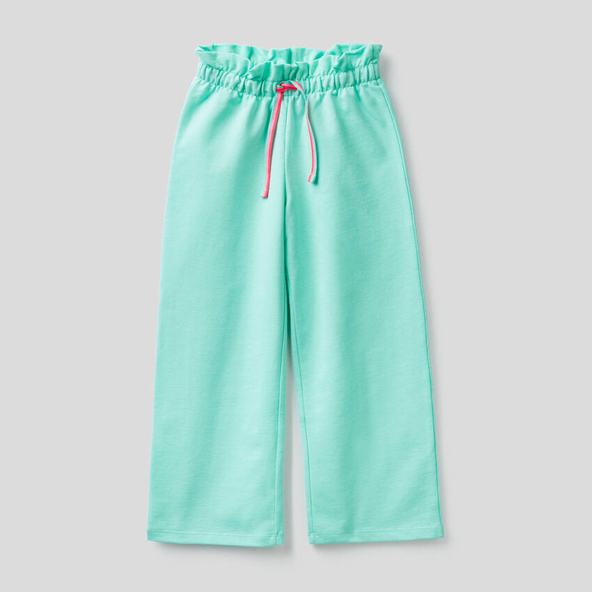 Wide leg trousers in lightweight sweat fabric