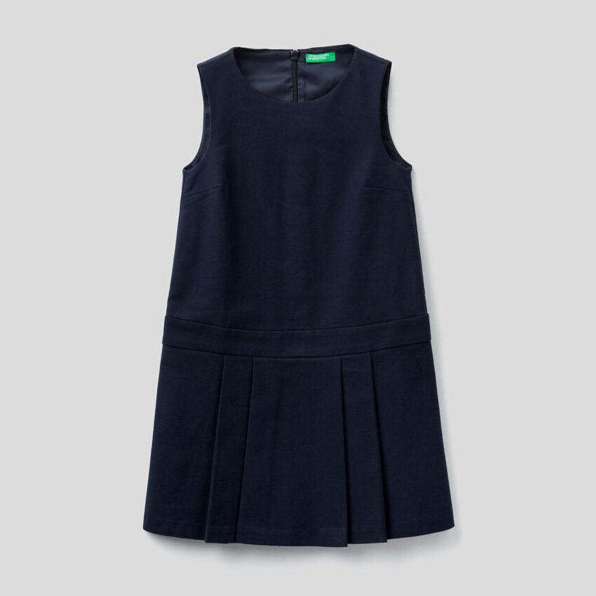 Sleeveless stretch flannel dress