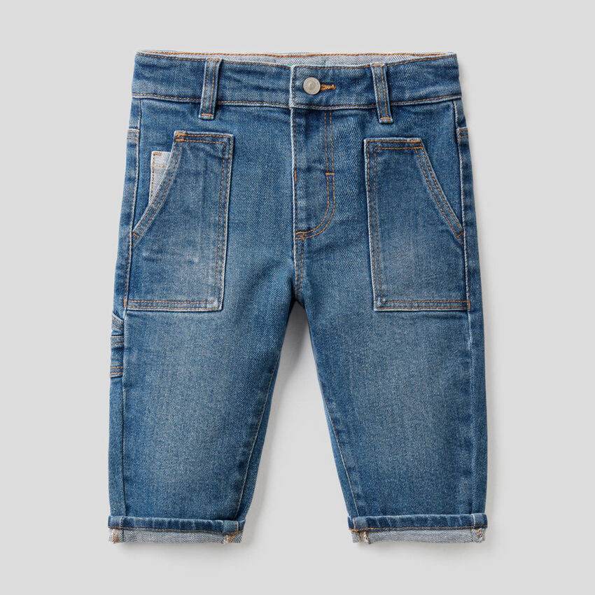 Jeans with pockets in stretch cotton