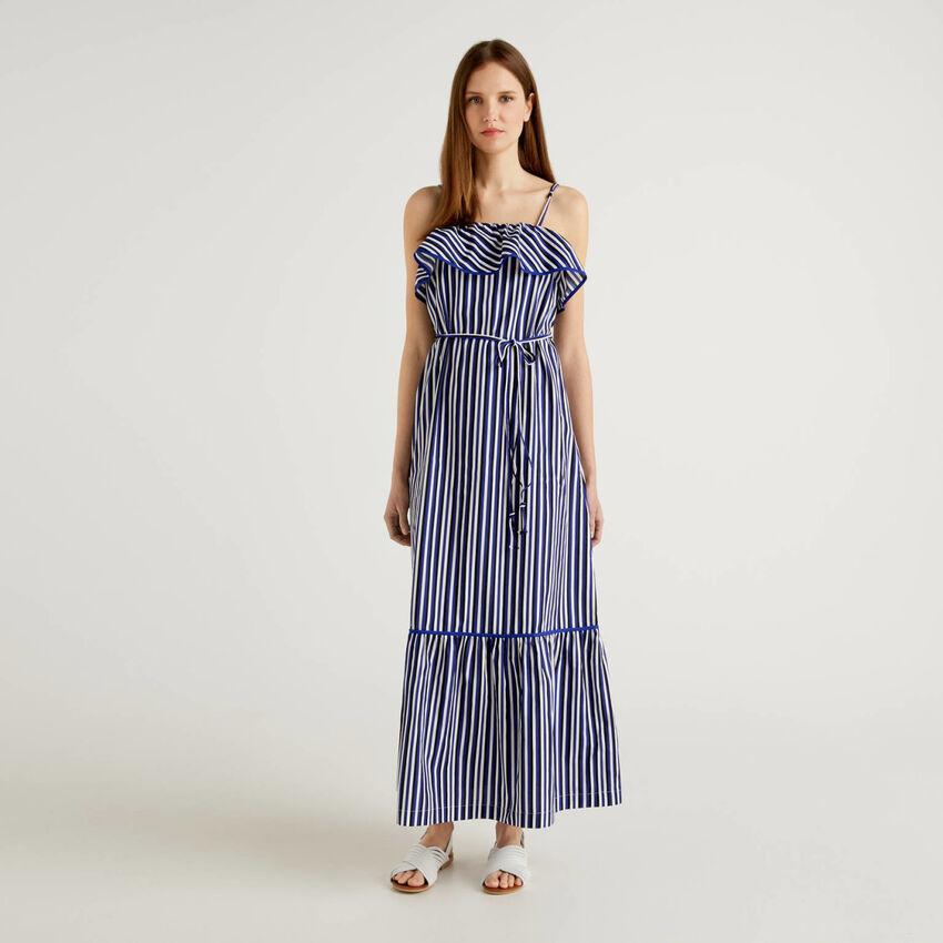 Maxi striped dress with frills