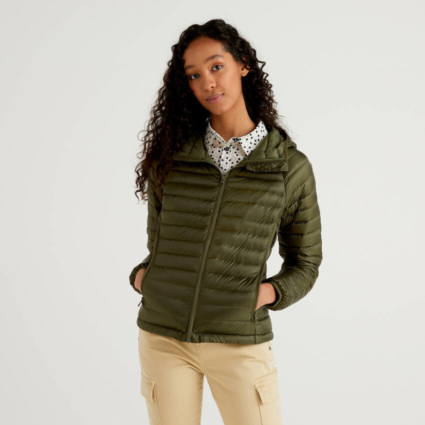 Military green puffer jacket with hood