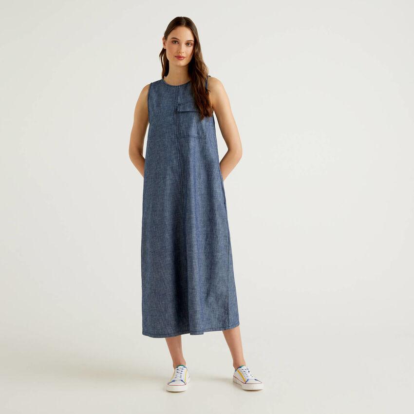 Maxi sleeveless denim look dress