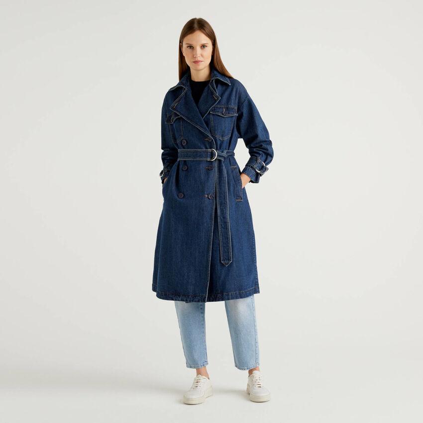 Denim trench coat