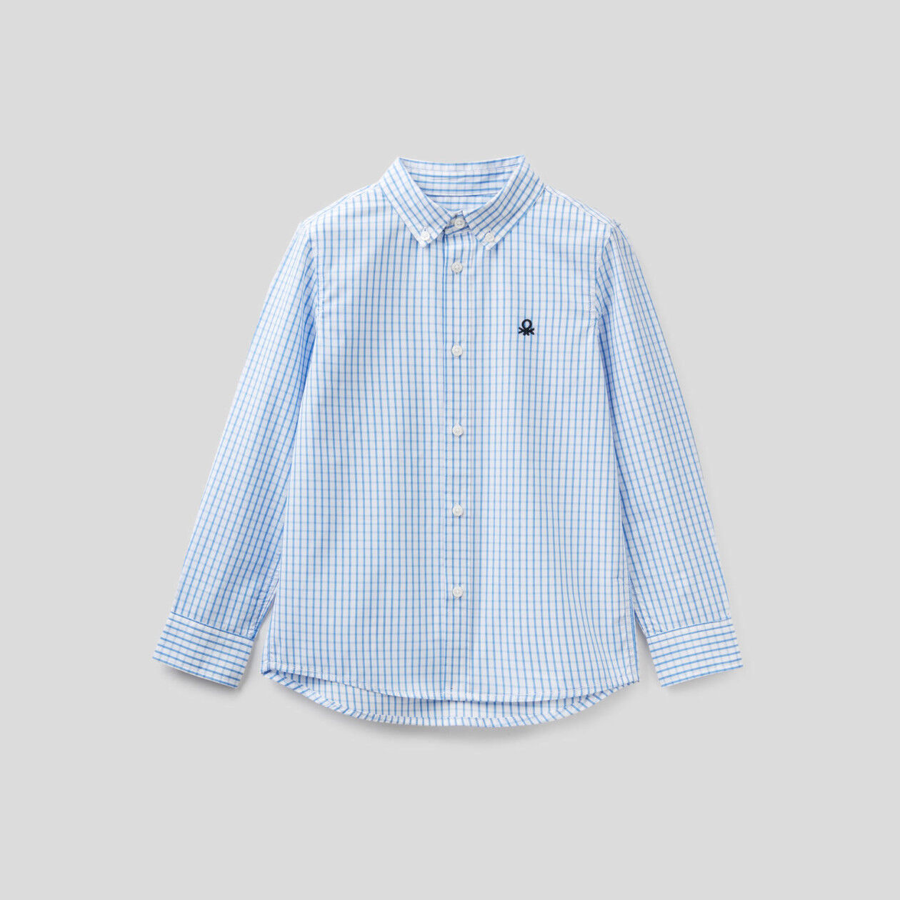 Sporty check shirt in pure cotton