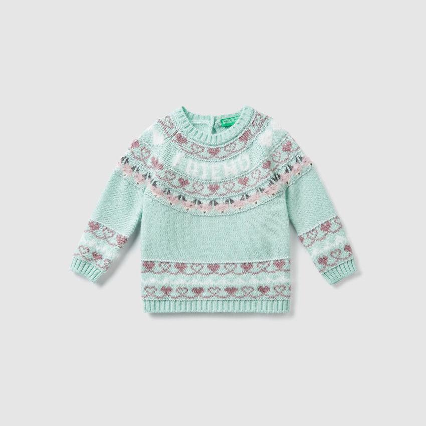 Jacquard wool sweater