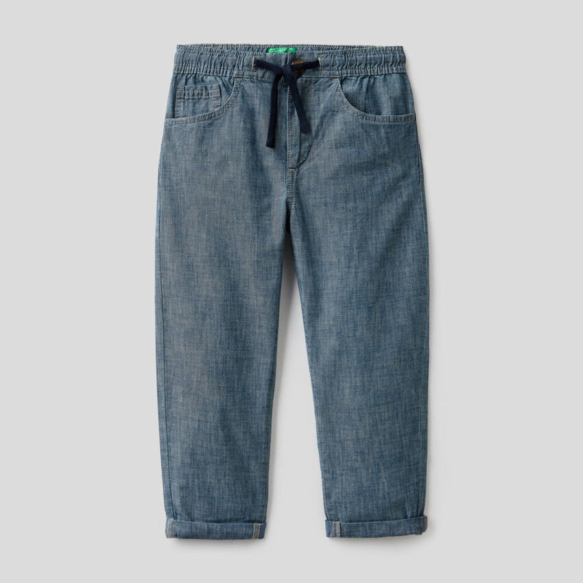 Trousers in pure organic cotton chambray